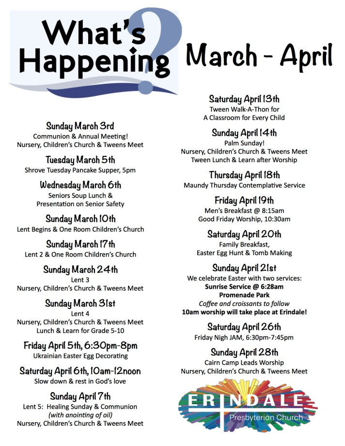 Whats happening at erindale March April 2019